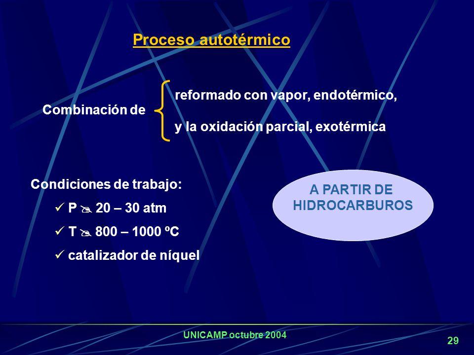 UNICAMP octubre 2004 28 Ninguno de los procesos se encuentra actualmente disponible en forma comercial VENTAJA: Obtención directa de H 2 a partir de b