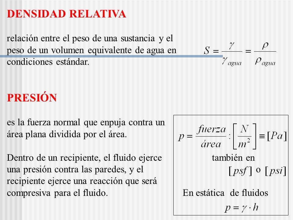 DENSIDAD RELATIVA relación entre el peso de una sustancia y el peso de un volumen equivalente de agua en condiciones estándar.