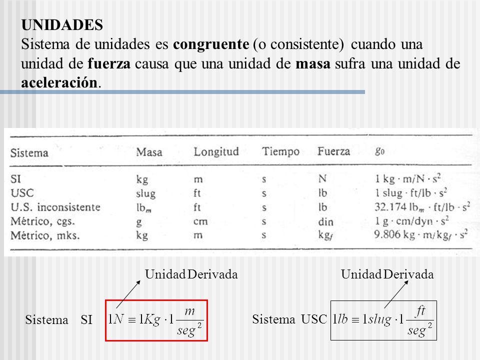 UNIDADES Sistema de unidades es congruente (o consistente) cuando una unidad de fuerza causa que una unidad de masa sufra una unidad de aceleración.
