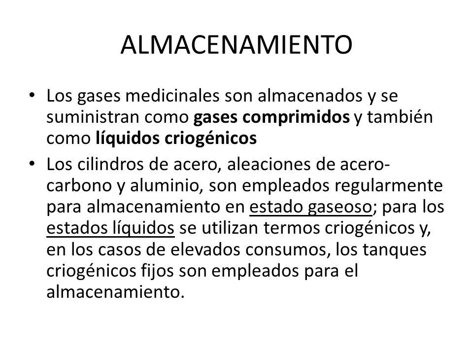 ALMACENAMIENTO Los gases medicinales son almacenados y se suministran como gases comprimidos y también como líquidos criogénicos Los cilindros de acer