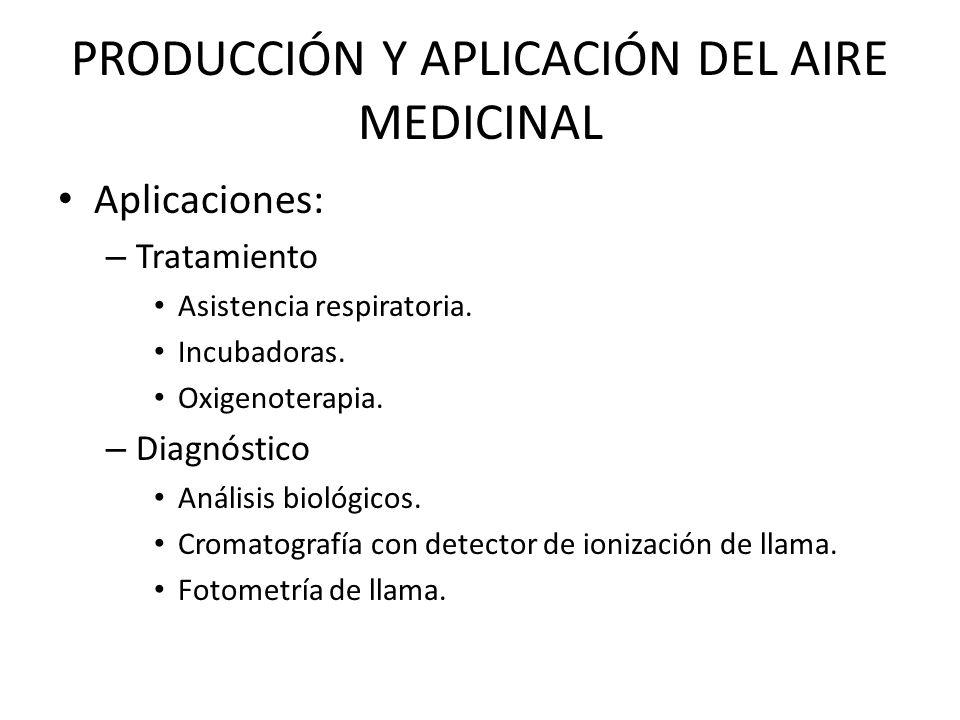 PRODUCCIÓN Y APLICACIÓN DEL AIRE MEDICINAL Aplicaciones: – Tratamiento Asistencia respiratoria. Incubadoras. Oxigenoterapia. – Diagnóstico Análisis bi