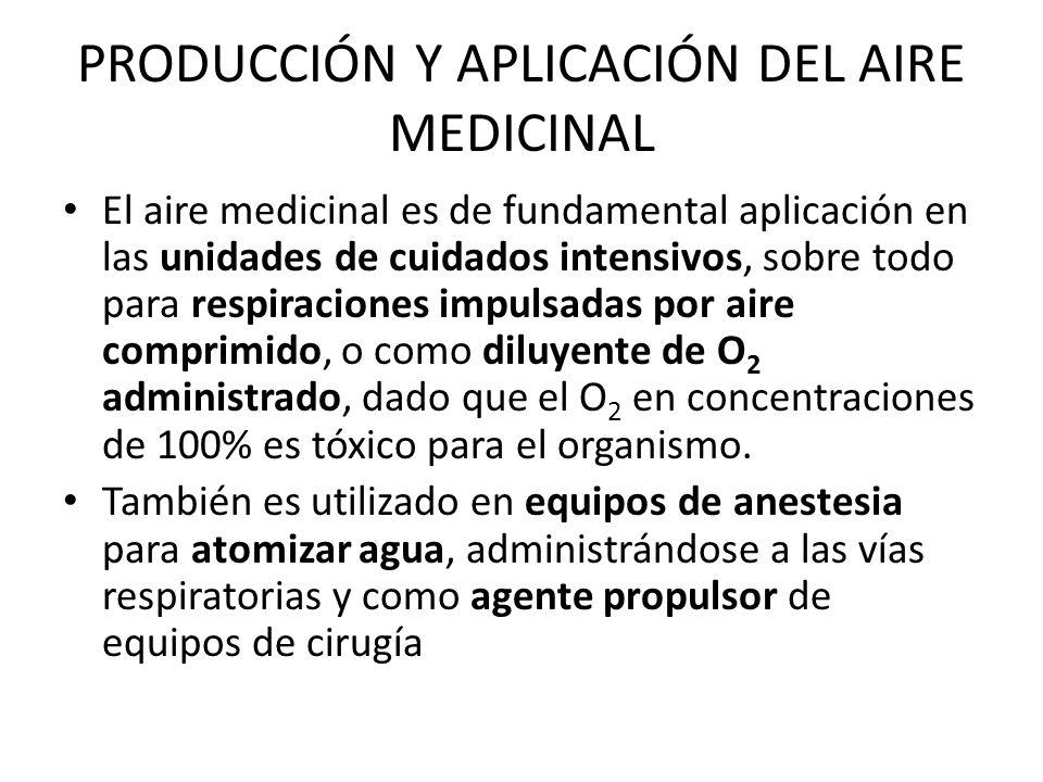 PRODUCCIÓN Y APLICACIÓN DEL AIRE MEDICINAL El aire medicinal es de fundamental aplicación en las unidades de cuidados intensivos, sobre todo para resp