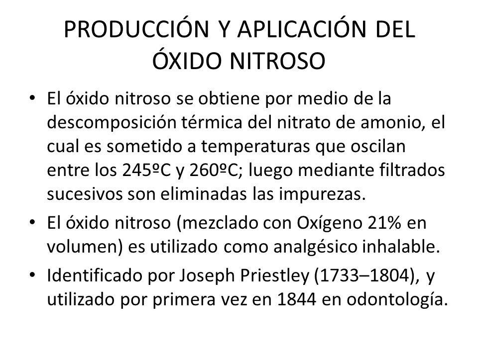 PRODUCCIÓN Y APLICACIÓN DEL ÓXIDO NITROSO El óxido nitroso se obtiene por medio de la descomposición térmica del nitrato de amonio, el cual es sometid