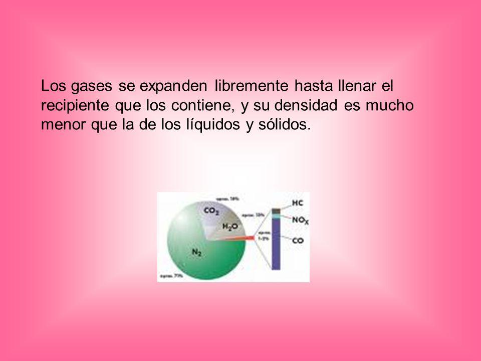Los gases se expanden libremente hasta llenar el recipiente que los contiene, y su densidad es mucho menor que la de los líquidos y sólidos.