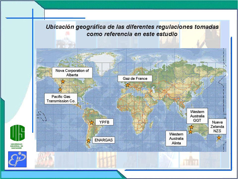 Ubicación geográfica de las diferentes regulaciones tomadas como referencia en este estudio
