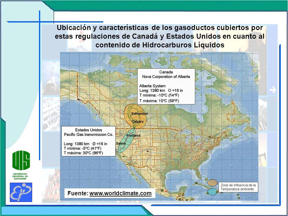 Ubicación y características de los gasoductos cubiertos por estas regulaciones de Canadá y Estados Unidos en cuanto al contenido de Hidrocarburos Líqu