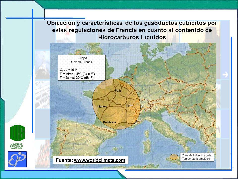 Ubicación y características de los gasoductos cubiertos por estas regulaciones de Francia en cuanto al contenido de Hidrocarburos Líquidos Fuente: www