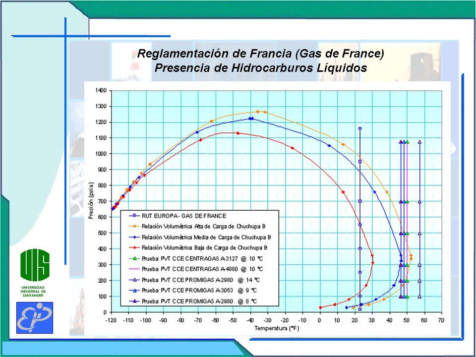 Reglamentación de Francia (Gas de France) Presencia de Hidrocarburos Líquidos