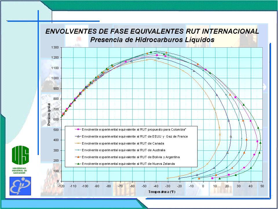 ENVOLVENTES DE FASE EQUIVALENTES RUT INTERNACIONAL Presencia de Hidrocarburos Líquidos