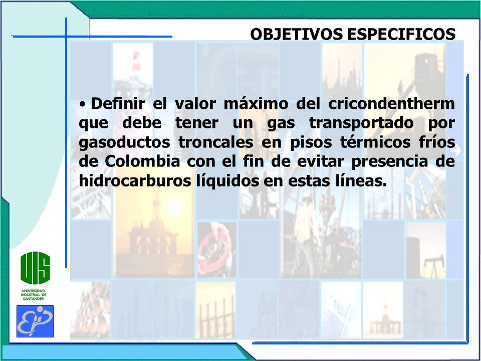 OBJETIVOS ESPECIFICOS Definir el valor máximo del cricondentherm que debe tener un gas transportado por gasoductos troncales en pisos térmicos fríos d