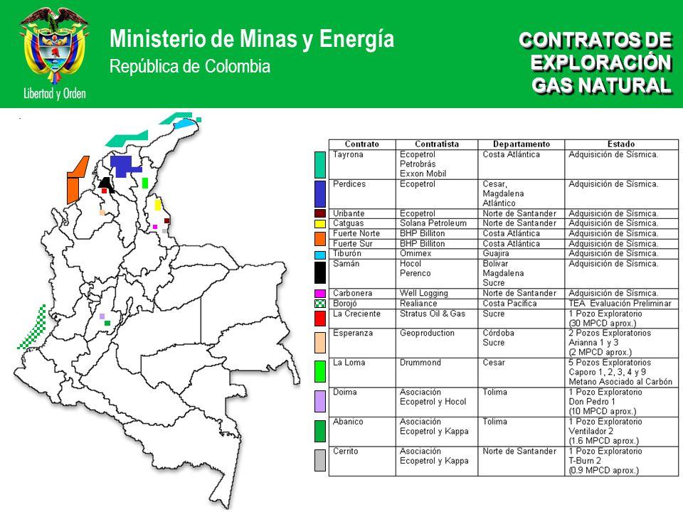 Ministerio de Minas y Energía República de Colombia CONTRATOS DE EXPLORACIÓN GAS NATURAL