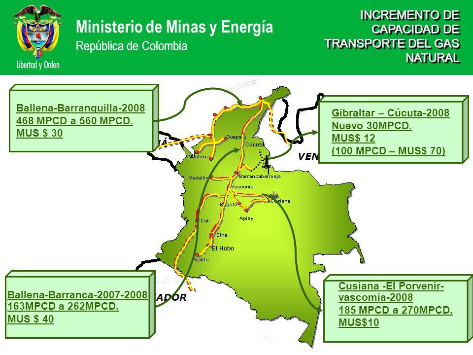 Ministerio de Minas y Energía República de Colombia El Hobo VENEZUELA BRASIL ECUADOR PANAMÁ INCREMENTO DE CAPACIDAD DE TRANSPORTE DEL GAS NATURAL Ball