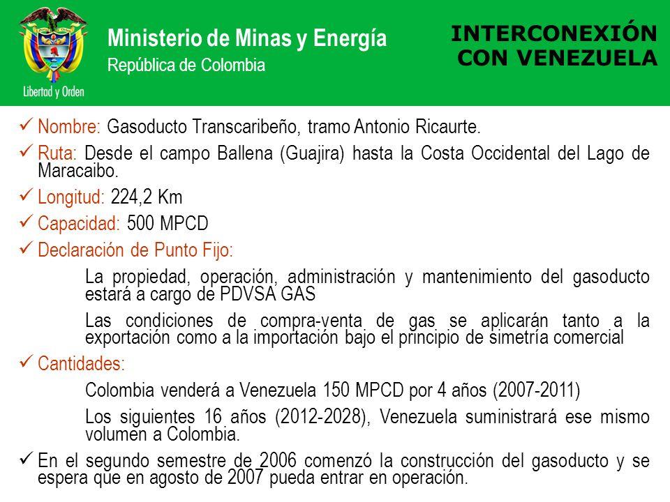 Ministerio de Minas y Energía República de Colombia INTERCONEXIÓN CON VENEZUELA Nombre: Gasoducto Transcaribeño, tramo Antonio Ricaurte. Ruta: Desde e