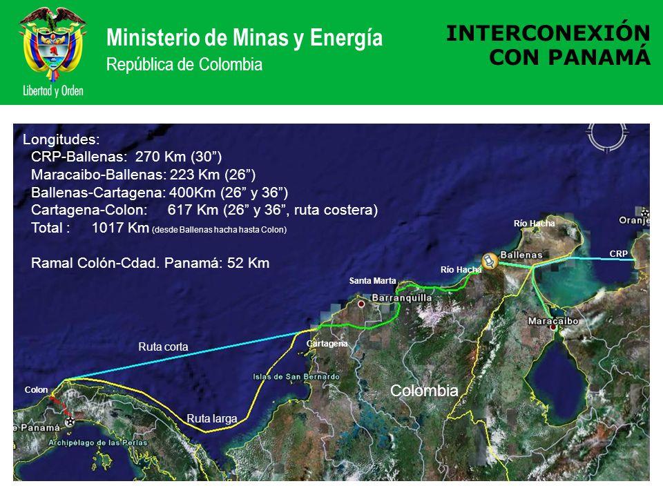 Ministerio de Minas y Energía República de Colombia INTERCONEXIÓN CON PANAMÁ Santa Marta Cartagena Colon Río Hacha Colombia Longitudes: CRP-Ballenas: