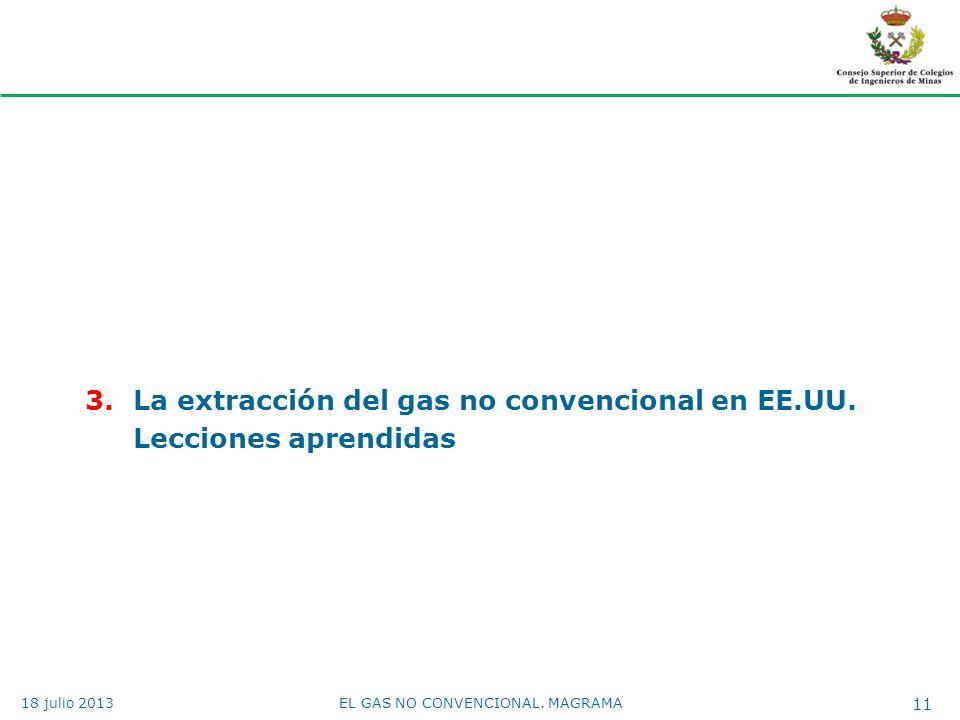 3.La extracción del gas no convencional en EE.UU. Lecciones aprendidas EL GAS NO CONVENCIONAL. MAGRAMA 11 18 julio 2013