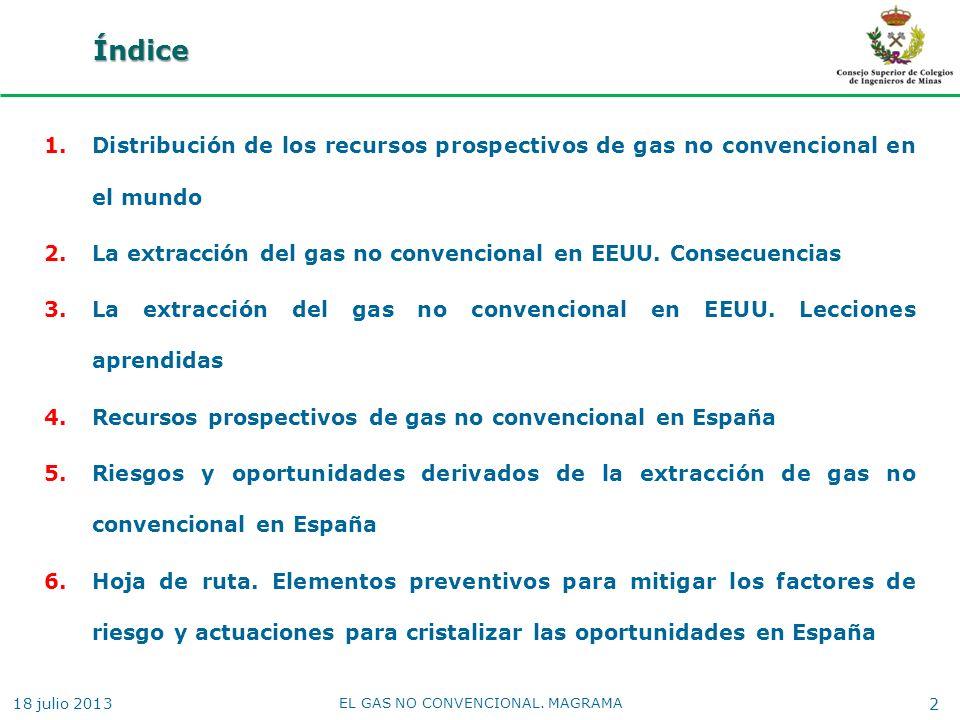 Índice 1.Distribución de los recursos prospectivos de gas no convencional en el mundo 2.La extracción del gas no convencional en EEUU. Consecuencias 3