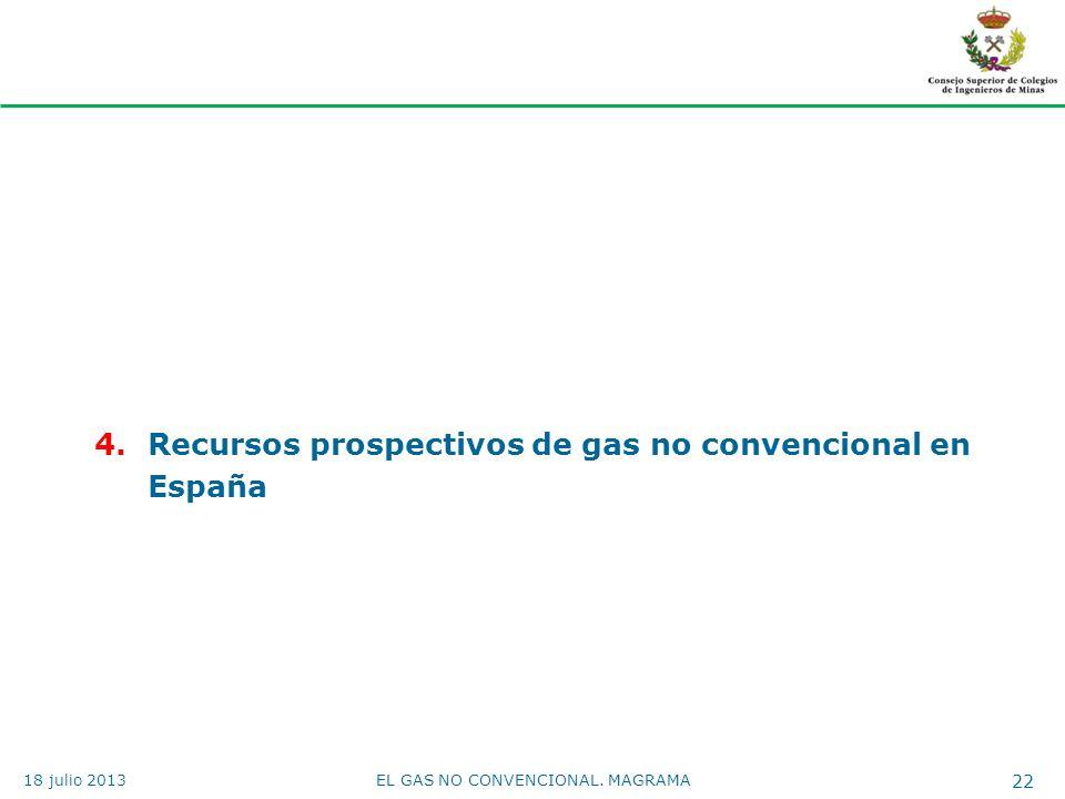 4.Recursos prospectivos de gas no convencional en España EL GAS NO CONVENCIONAL. MAGRAMA 22 18 julio 2013