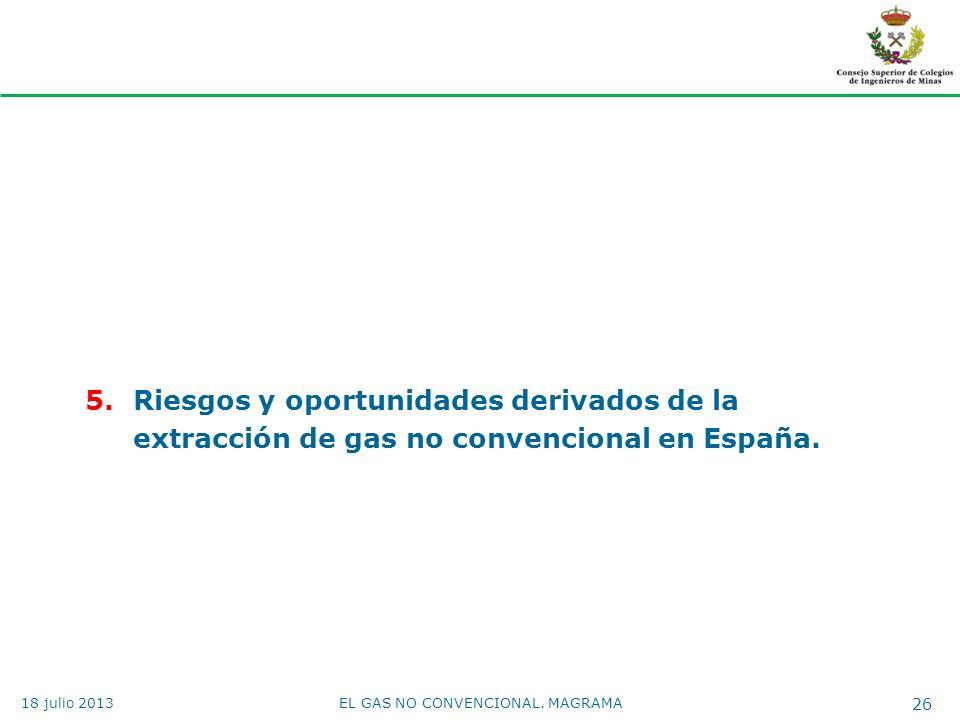 5.Riesgos y oportunidades derivados de la extracción de gas no convencional en España. EL GAS NO CONVENCIONAL. MAGRAMA 26 18 julio 2013