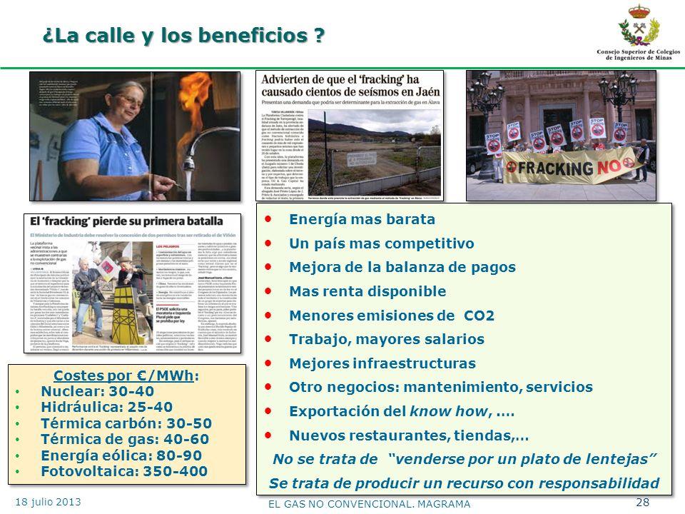 ¿La calle y los beneficios ? 28 EL GAS NO CONVENCIONAL. MAGRAMA 18 julio 2013 Energía mas barata Un país mas competitivo Mejora de la balanza de pagos
