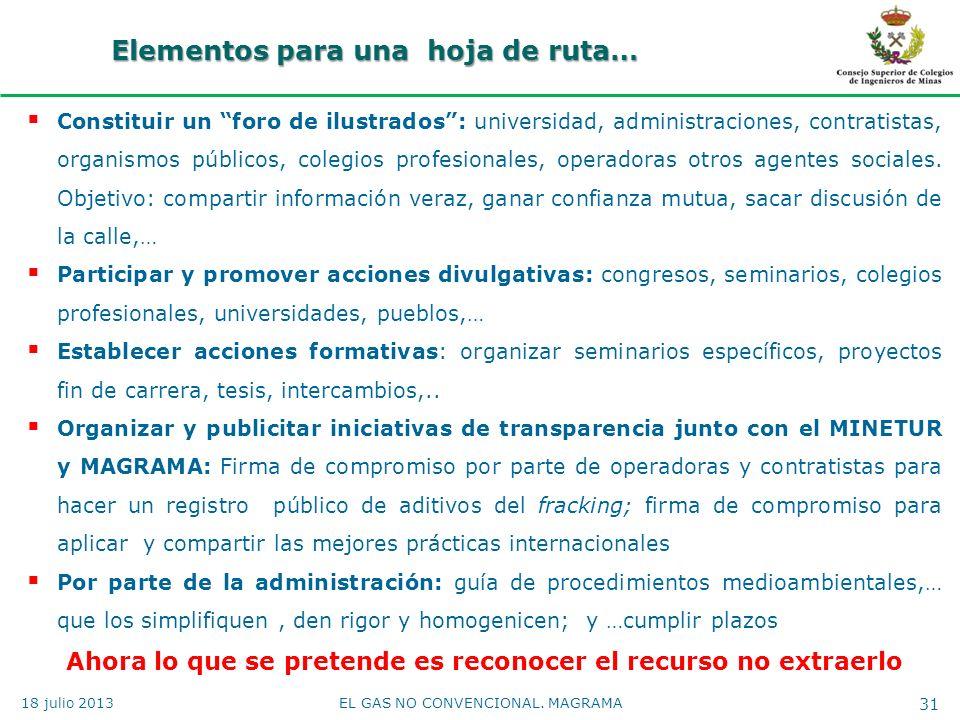 Elementos para una hoja de ruta… 18 julio 2013EL GAS NO CONVENCIONAL. MAGRAMA 31 Constituir un foro de ilustrados: universidad, administraciones, cont