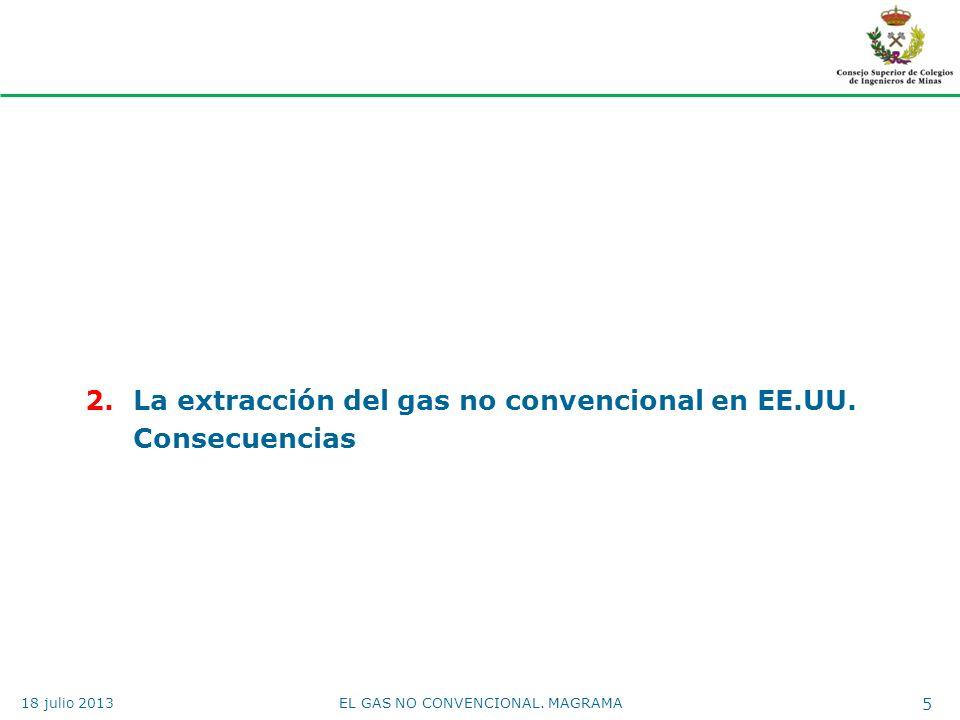 2.La extracción del gas no convencional en EE.UU. Consecuencias EL GAS NO CONVENCIONAL. MAGRAMA 5 18 julio 2013