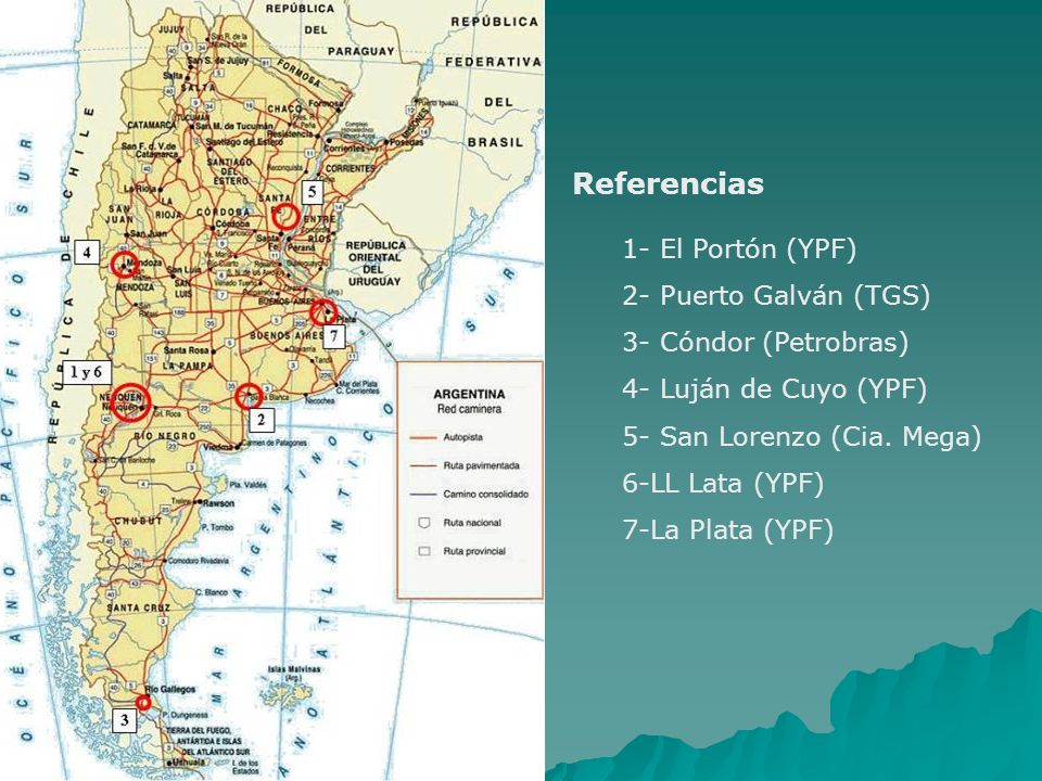 1- El Portón (YPF) 2- Puerto Galván (TGS) 3- Cóndor (Petrobras) 4- Luján de Cuyo (YPF) 5- San Lorenzo (Cia. Mega) 6-LL Lata (YPF) 7-La Plata (YPF) Ref