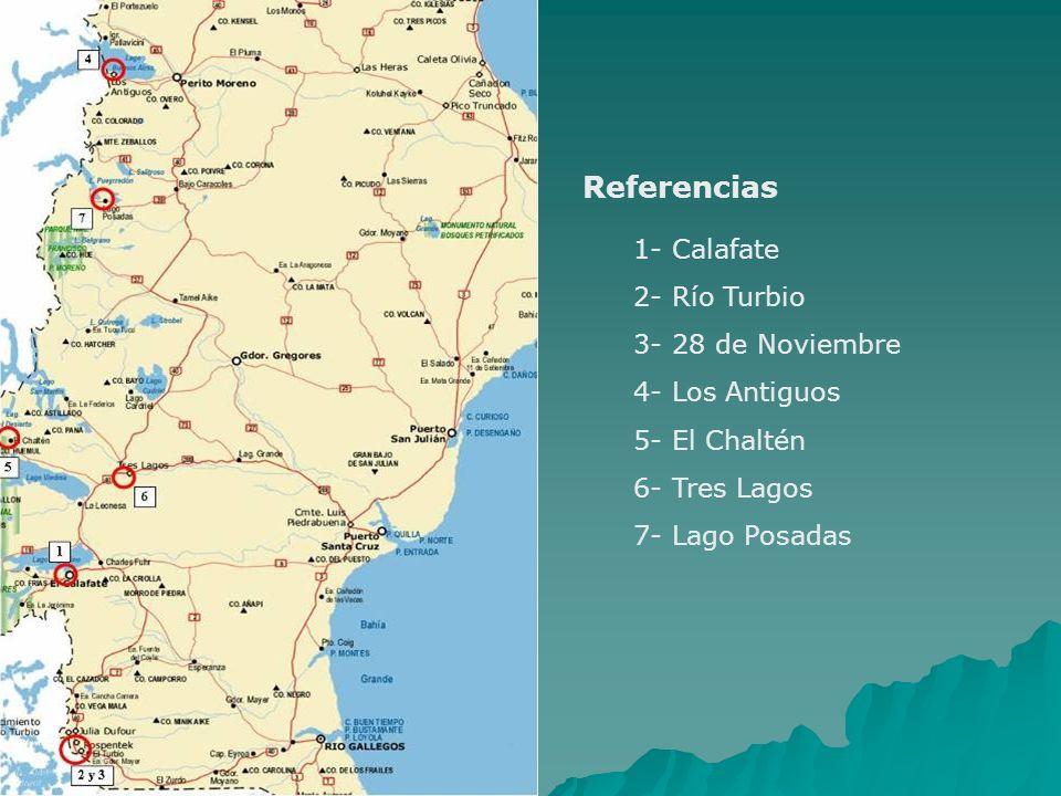 1- Calafate 2- Río Turbio 3- 28 de Noviembre 4- Los Antiguos 5- El Chaltén 6- Tres Lagos 7- Lago Posadas Referencias