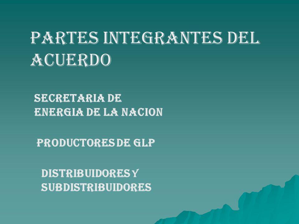 PARTES INTEGRANTES DEL ACUERDO SECRETARIA DE ENERGIA DE LA NACION PRODUCTORES DE GLP DISTRIBUIDORES Y SUBDISTRIBUIDORES