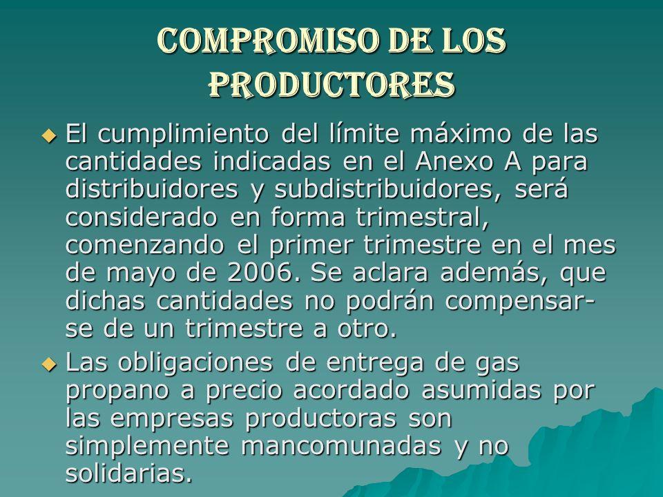 Compromiso de los productores El cumplimiento del límite máximo de las cantidades indicadas en el Anexo A para distribuidores y subdistribuidores, ser
