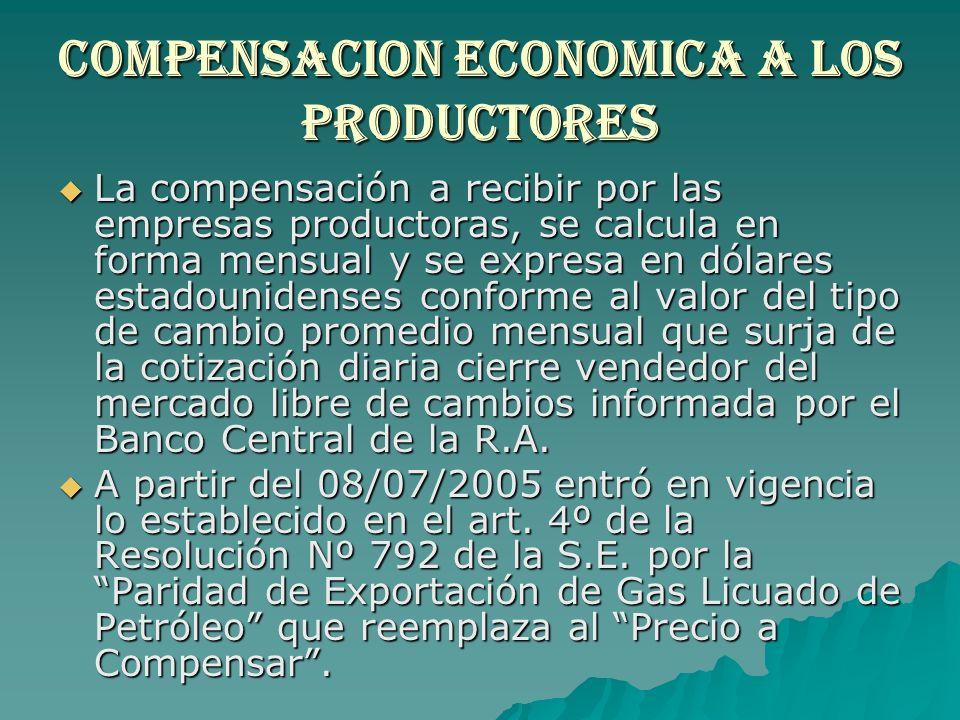 Compensacion economica a los productores La compensación a recibir por las empresas productoras, se calcula en forma mensual y se expresa en dólares e