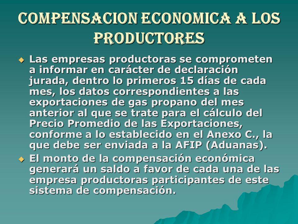 Compensacion economica a los productores Las empresas productoras se comprometen a informar en carácter de declaración jurada, dentro lo primeros 15 d