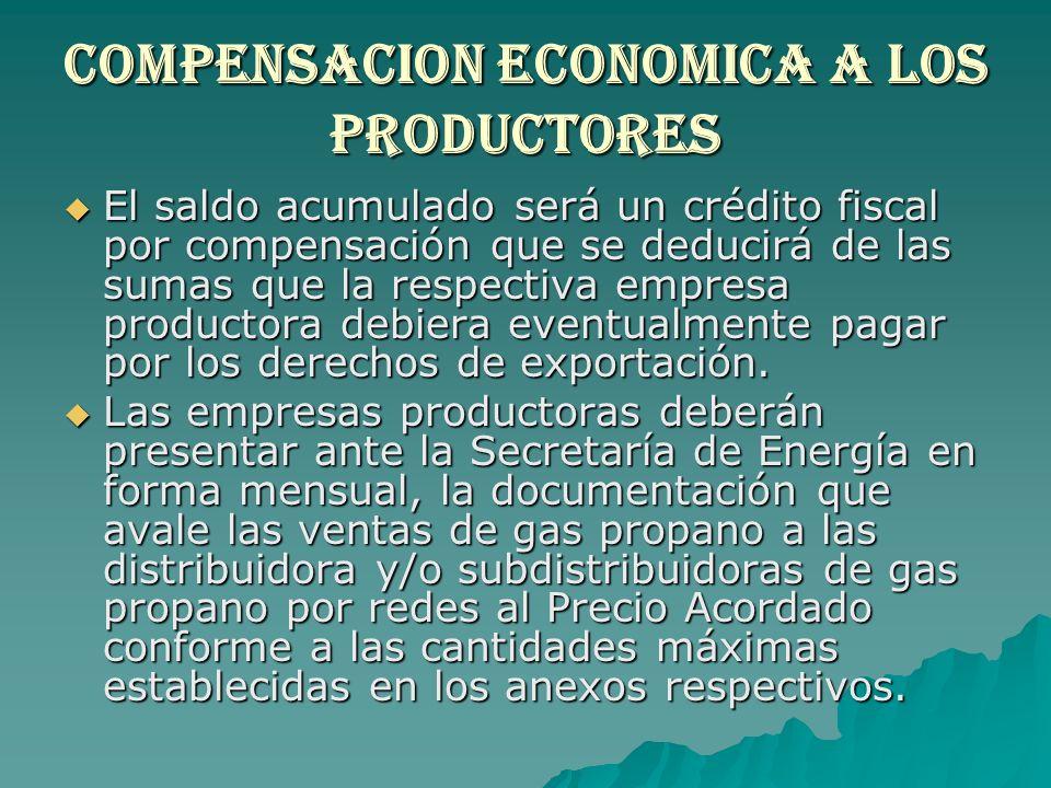 Compensacion economica a los productores El saldo acumulado será un crédito fiscal por compensación que se deducirá de las sumas que la respectiva emp