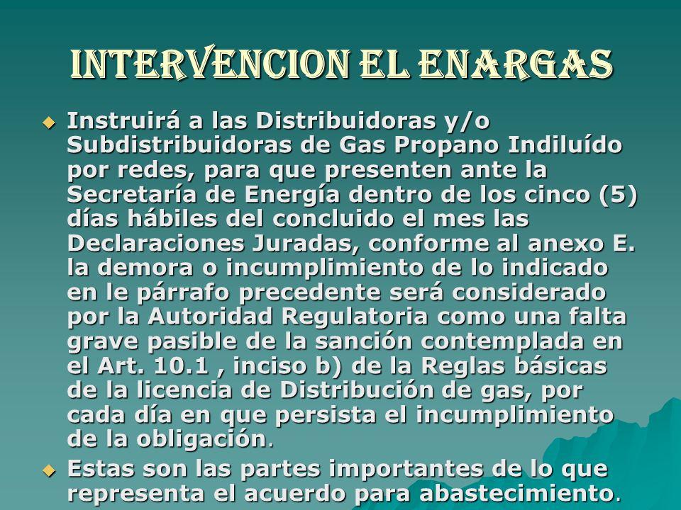 Intervencion el enargas Instruirá a las Distribuidoras y/o Subdistribuidoras de Gas Propano Indiluído por redes, para que presenten ante la Secretaría