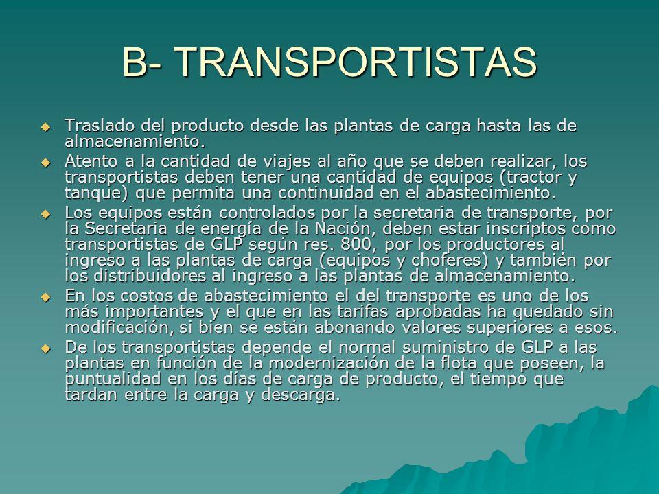 B- TRANSPORTISTAS Traslado del producto desde las plantas de carga hasta las de almacenamiento. Traslado del producto desde las plantas de carga hasta