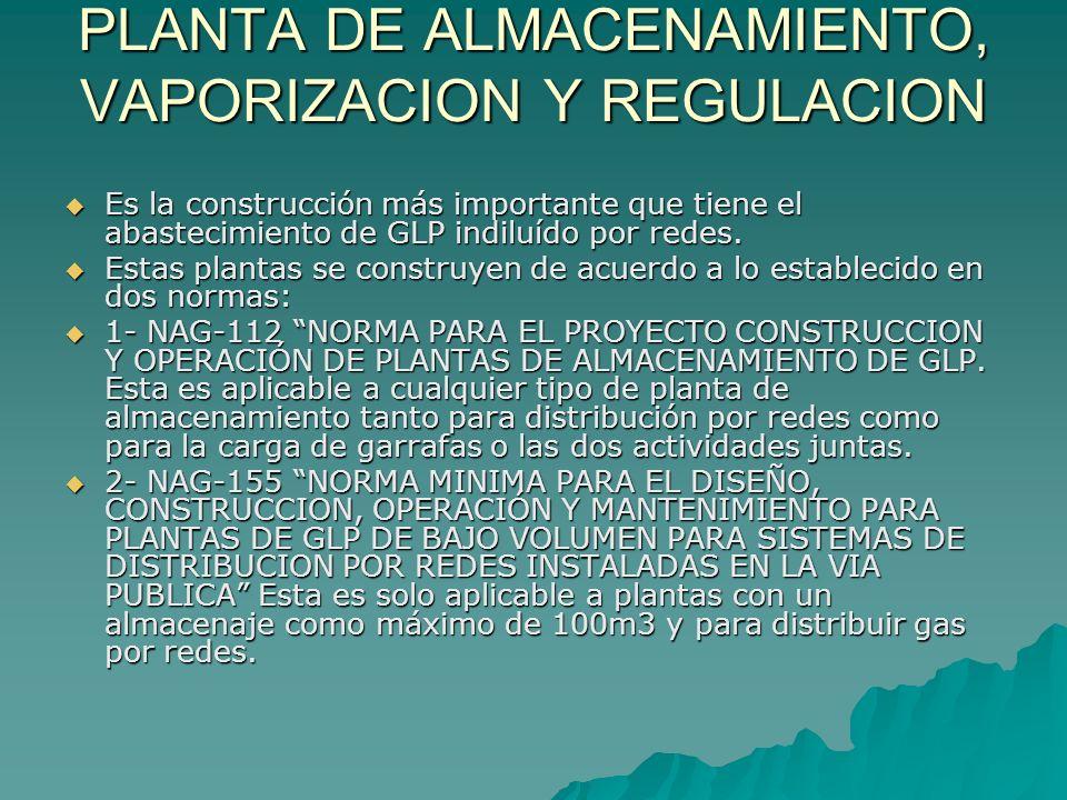 PLANTA DE ALMACENAMIENTO, VAPORIZACION Y REGULACION Es la construcción más importante que tiene el abastecimiento de GLP indiluído por redes. Es la co