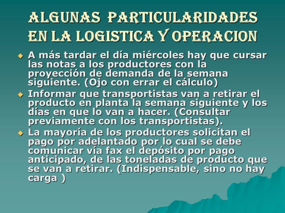 ALGUNAS PARTICULARIDADES EN LA LOGISTICA Y OPERACION A más tardar el día miércoles hay que cursar las notas a los productores con la proyección de dem