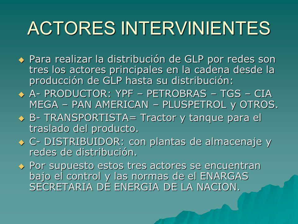ACTORES INTERVINIENTES Para realizar la distribución de GLP por redes son tres los actores principales en la cadena desde la producción de GLP hasta s