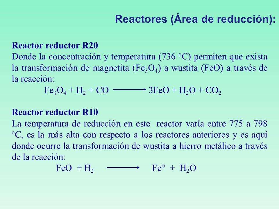 Reactor reductor R20 Donde la concentración y temperatura (736 o C) permiten que exista la transformación de magnetita (Fe 3 O 4 ) a wustita (FeO) a t