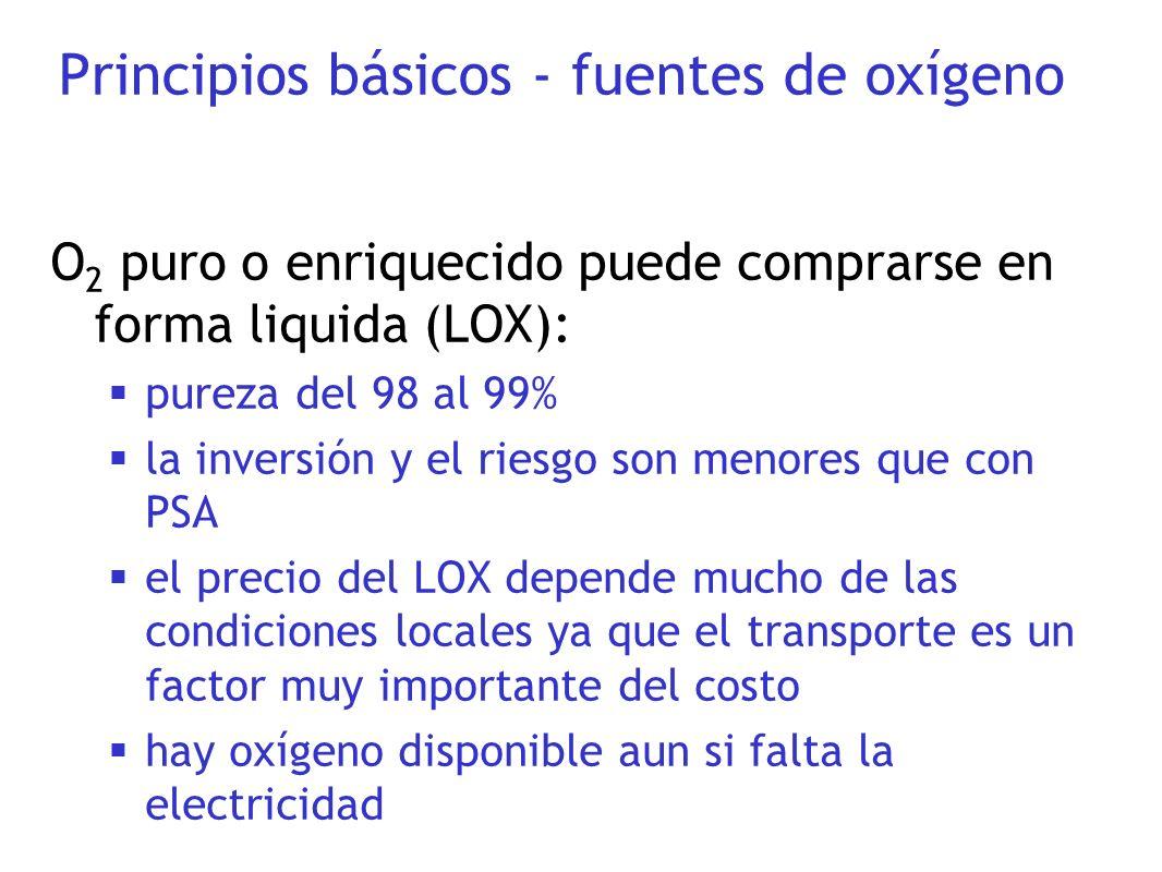 O 2 puro o enriquecido puede comprarse en forma liquida (LOX): pureza del 98 al 99% la inversión y el riesgo son menores que con PSA el precio del LOX