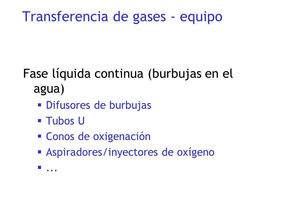 Fase líquida continua (burbujas en el agua) Difusores de burbujas Tubos U Conos de oxigenación Aspiradores/inyectores de oxígeno... Transferencia de g