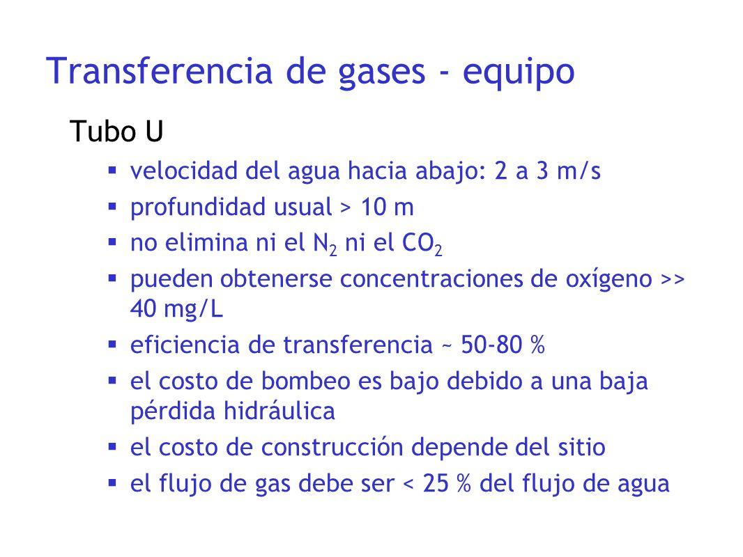 Tubo U velocidad del agua hacia abajo: 2 a 3 m/s profundidad usual > 10 m no elimina ni el N 2 ni el CO 2 pueden obtenerse concentraciones de oxígeno