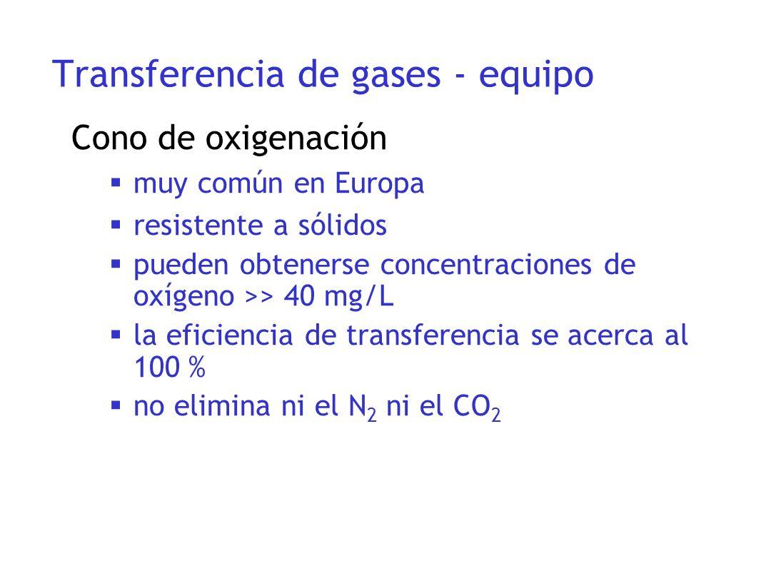 Cono de oxigenación muy común en Europa resistente a sólidos pueden obtenerse concentraciones de oxígeno >> 40 mg/L la eficiencia de transferencia se