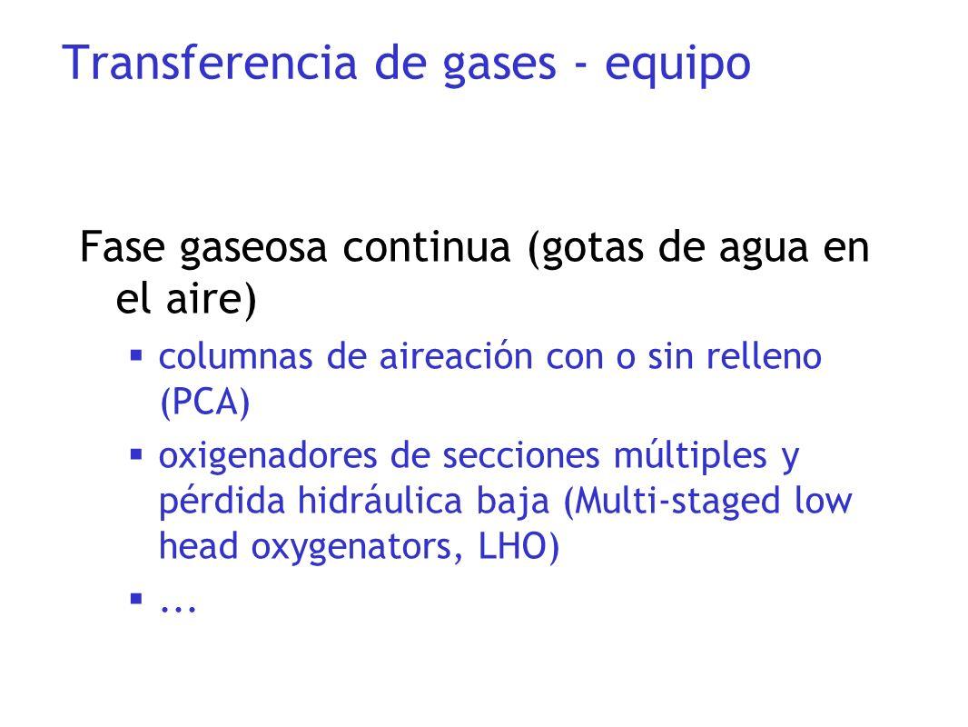 Fase gaseosa continua (gotas de agua en el aire) columnas de aireación con o sin relleno (PCA) oxigenadores de secciones múltiples y pérdida hidráulic