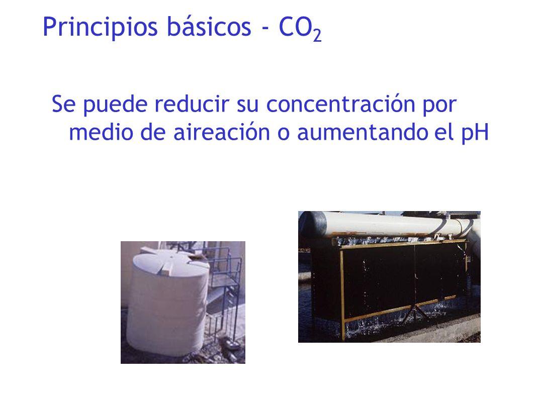 Se puede reducir su concentración por medio de aireación o aumentando el pH Principios básicos - CO 2