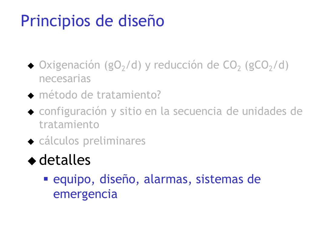 u Oxigenación (gO 2 /d) y reducción de CO 2 (gCO 2 /d) necesarias u método de tratamiento? u configuración y sitio en la secuencia de unidades de trat
