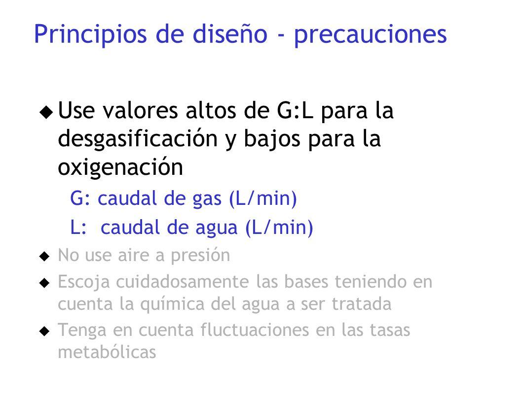 u Use valores altos de G:L para la desgasificación y bajos para la oxigenación G: caudal de gas (L/min) L: caudal de agua (L/min) u No use aire a pres