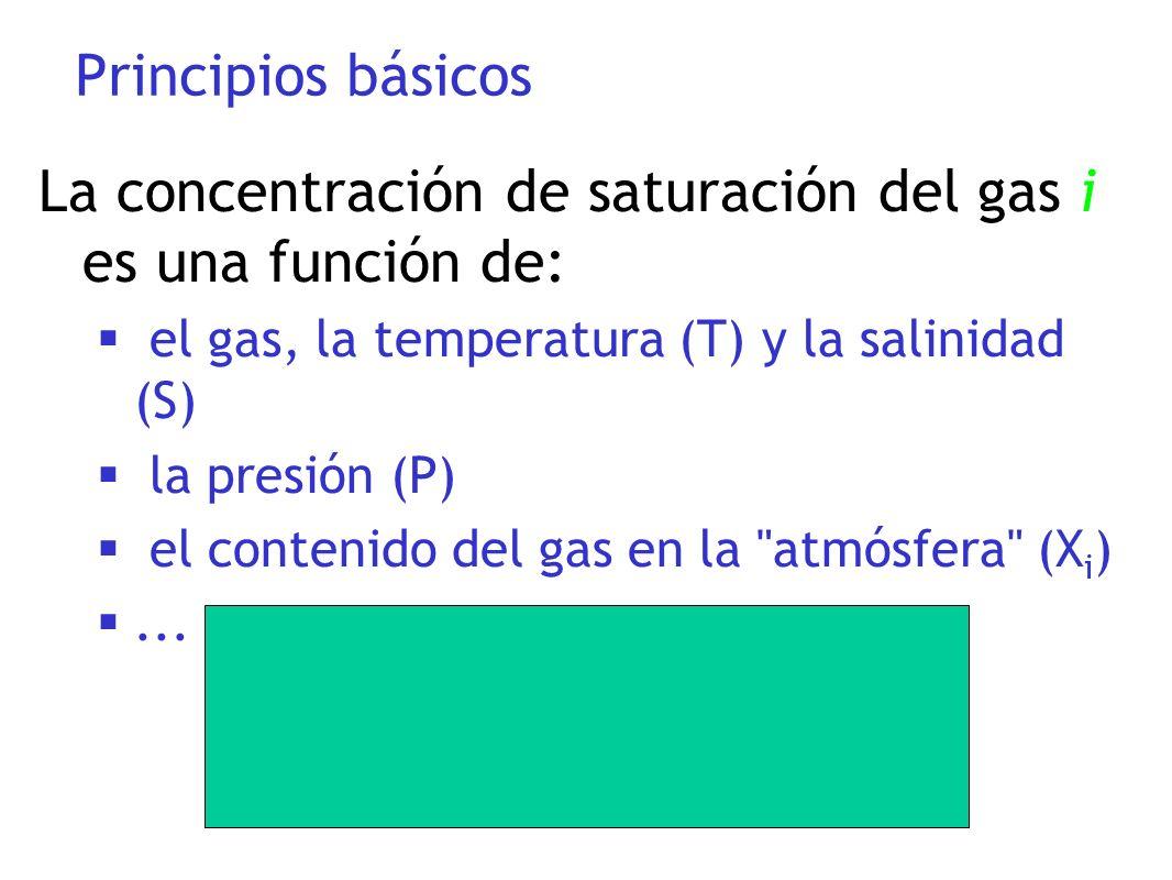 Principios básicos La concentración de saturación del gas i es una función de: el gas, la temperatura (T) y la salinidad (S) la presión (P) el conteni