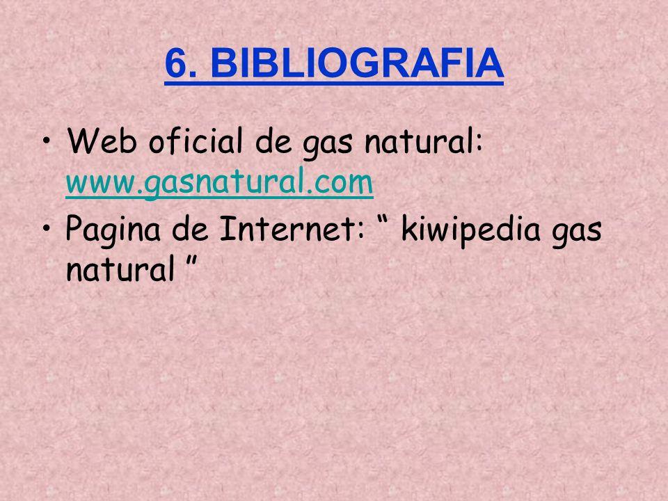 6. BIBLIOGRAFIA Web oficial de gas natural: www.gasnatural.com www.gasnatural.com Pagina de Internet: kiwipedia gas natural