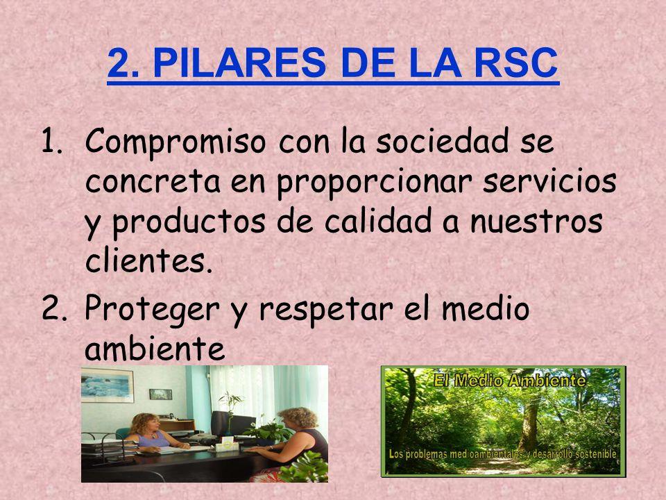 2. PILARES DE LA RSC 1.Compromiso con la sociedad se concreta en proporcionar servicios y productos de calidad a nuestros clientes. 2.Proteger y respe