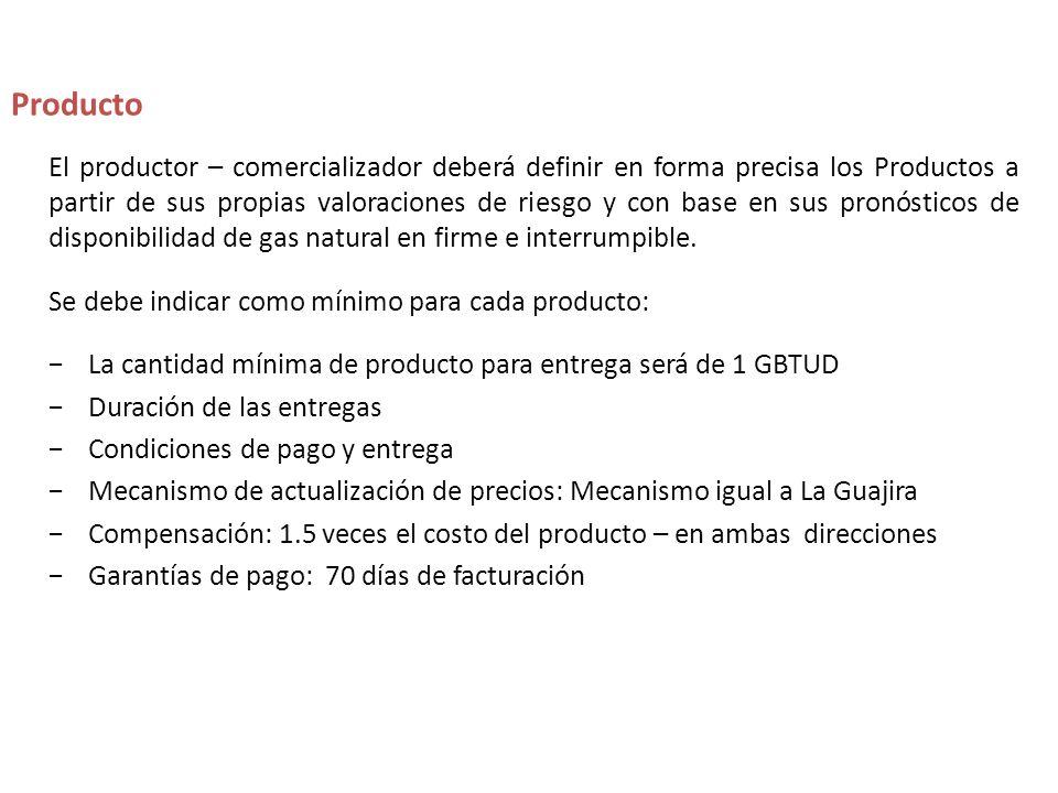 El productor – comercializador deberá definir en forma precisa los Productos a partir de sus propias valoraciones de riesgo y con base en sus pronósticos de disponibilidad de gas natural en firme e interrumpible.
